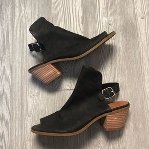 Lucky Brand Bray Black Buckle Ankle Boots Size 10